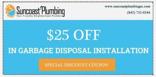 Save $25 off any garbage disposal installation by Suncoast Plumbing, LLC in and around Summerville.