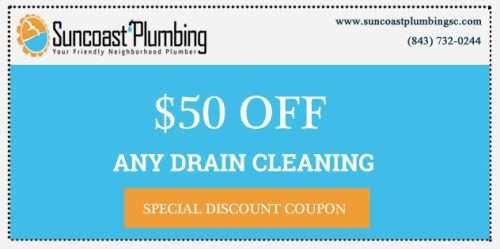 Save $50 off any drain cleaning by by Suncoast Plumbing, LLC in and around Summerville.