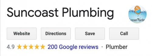 Suncoast Plumbing Google Reviews