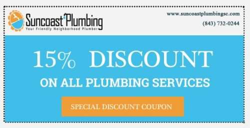 Discount coupons for local plumbing services by Suncoast Plumbing, LLC.